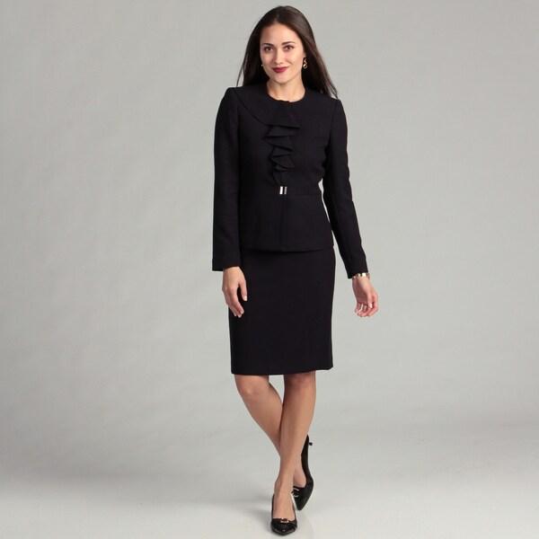 Anne Klein Women's Aubergine Ruffled Skirt Suit