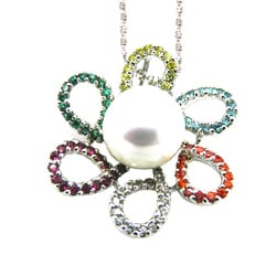 Pearlz Ocean Sterling Silver FW Pearl and CZ Necklace (8-9 mm)