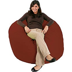 FufSack Double-Stitched Cinnabar Red Microfiber Bean Bag Chair