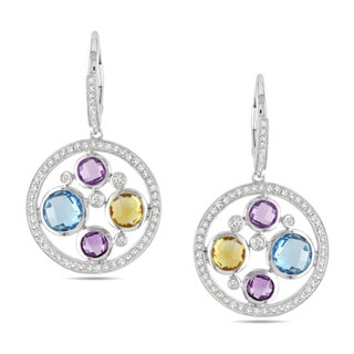 Miadora 14k Gold Multi-gemstone and 3/4ct TDW Diamond Earrings (G-H, SI1-SI2)