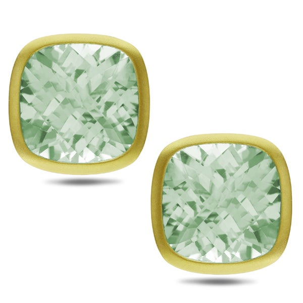 Miadora 14k Yellow Gold 22 3/8ct TGW Cushion-cut Green Amethyst Earrings