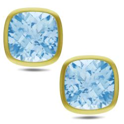 Miadora 14k Yellow Gold 30ct TGW Cushion-cut Blue Topaz Earrings