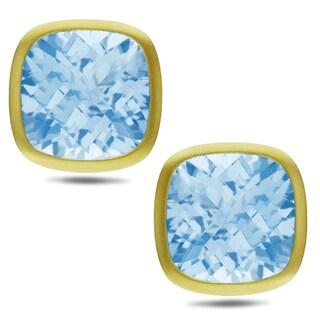 Miadora Signature Collection 14k Yellow Gold 30ct TGW Cushion-cut Blue Topaz Earrings