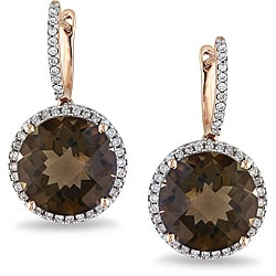 Miadora 14k Pink Gold Smokey Quartz and 1/2ct TDW Diamond Earrings (G-H, SI1-2)