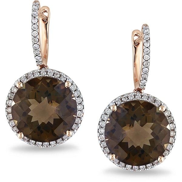 Miadora Signature Collection 14k Pink Gold Smokey Quartz and 1/2ct TDW Diamond Earrings (G-H, SI1-2)