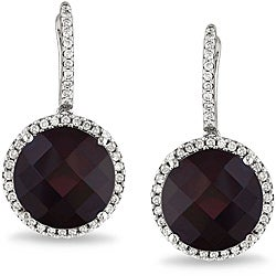 Miadora 14k White Gold Rhodolite and 1/2 CT TDW Diamond Earrings (G-H, SI1)