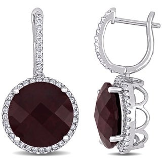 Miadora Signature Collection 14k White Gold Rhodolite and 1/2 CT TDW Diamond Earrings (G-H, SI1)
