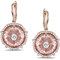Miadora 14k Pink Gold Rose Quartz and 5/8ct TDW Diamond Earrings (G-H, SI2)