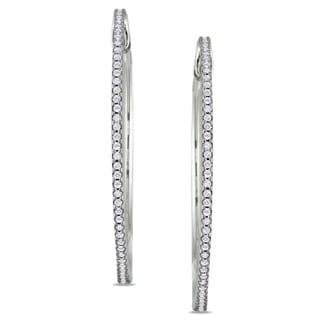 Miadora 10k White Gold 1/2ct TDW Diamond Hoop Earrings (G-H, I1-I2)