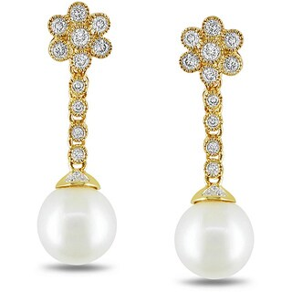 Miadora Signature Collection 14k Yellow Gold Cultured Freshwater Pearl and 1/2ct TDW Diamond Earrings (G-H, SI1-SI2)