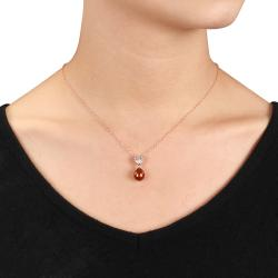 Miadora 18k Gold/ Silver Brown Pearl and 1/10ct TDW Diamond Necklace (H-I, I3)