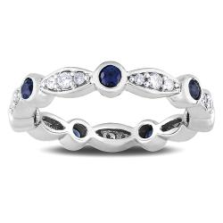 14k White Gold Sapphire and 1/4ct TDW Diamond Ring (G-H, SI1-SI2)