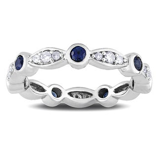 Miadora Signature Collection 14k White Gold Sapphire and 1/4ct TDW Diamond Ring (G-H, SI1-SI2)