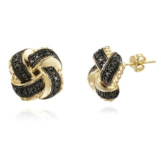 DB Designs 18k Gold over Silver Black Diamond Accent Love Knot Earrings