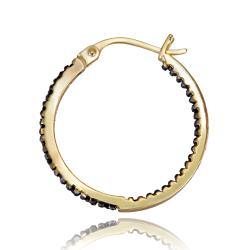 DB Designs 18k Gold over Silver 1/4ct TDW Black Diamond Hoop Earrings