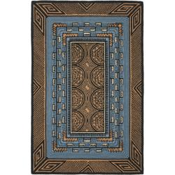 Hand-hooked Deco Brown Wool Rug (8'9 x 11'9)