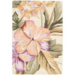 Hand-hooked Botanical Ivory Wool Rug (1'8 x 2'6)