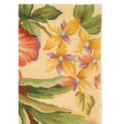 Hand-hooked Botanical Ivory Wool Rug (2'9 x 4'9)