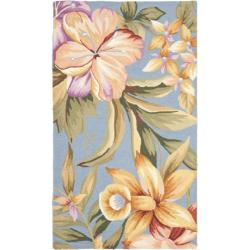 Hand-hooked Botanical Blue Wool Rug (2'9 x 4'9)