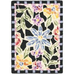 Hand-hooked Floral Mosaic Black Wool Rug (1'8 x 2'6)