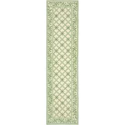 Safavieh Hand-hooked Diamonds Ivory/ Light Green Wool Rug (2'6 x 10')