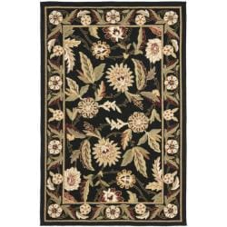 Hand-hooked Ferns Black Wool Rug (3'9 x 5'9)