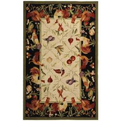 Hand-hooked Roosters Ivory/ Black Wool Rug (6' x 9')