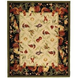 Hand-hooked Roosters Ivory/ Black Wool Rug (8'9 x 11'9)