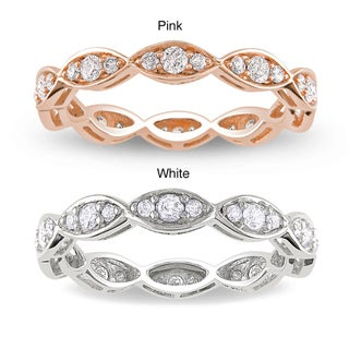 Miadora 14k Gold 1/2ct TDW Vintage Diamond Eternity Ring (G-H, I1-I2) with Bonus Earrings