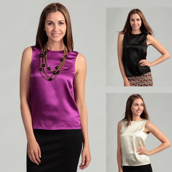 Adam Women's Sleeveless Scoop Neck Silk Top