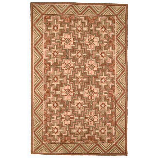 Safavieh Hand-hooked Maze Beige Wool Rug (7'6 x 9'9)