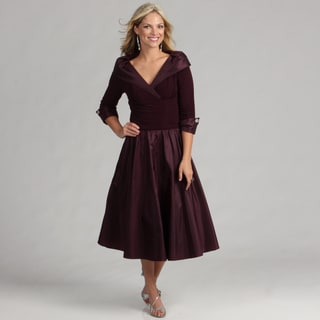 Jessica Howard Women's Eggplant 3/4-sleeve Dress