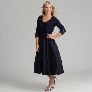 Jessica Howard Women's Navy 3/4-sleeve Dress