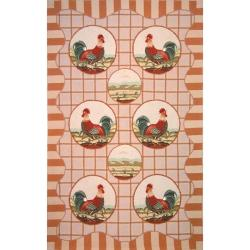 Hand-hooked Rooster Beige Wool Rug (5'3 x 8'3)