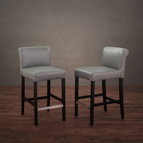 Cosmopolitan Charcoal Leather Counter Stool (Set of 2)