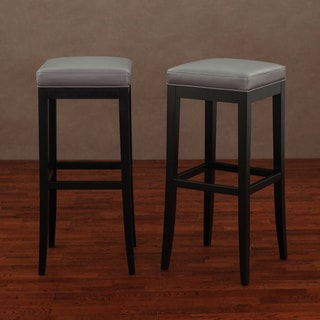 Kari Charcoal Leather Barstool (Set of 2)
