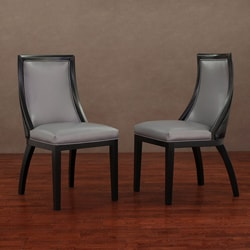Park Avenue Black Croco/ Charcoal Leather Dining Chair (Set of 2)