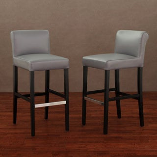 Cosmopolitan Charcoal Leather Barstool (Set of 2)