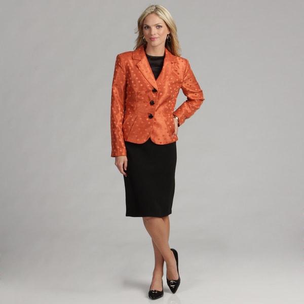 Danillo Women's Copper/ Black Skirt Suit