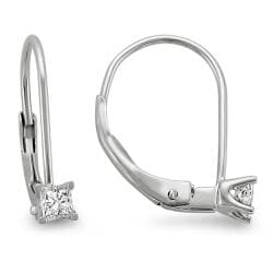 14k White Gold 1/5ct TDW Princess Diamond Leverback Earrings (I-J, SI2)