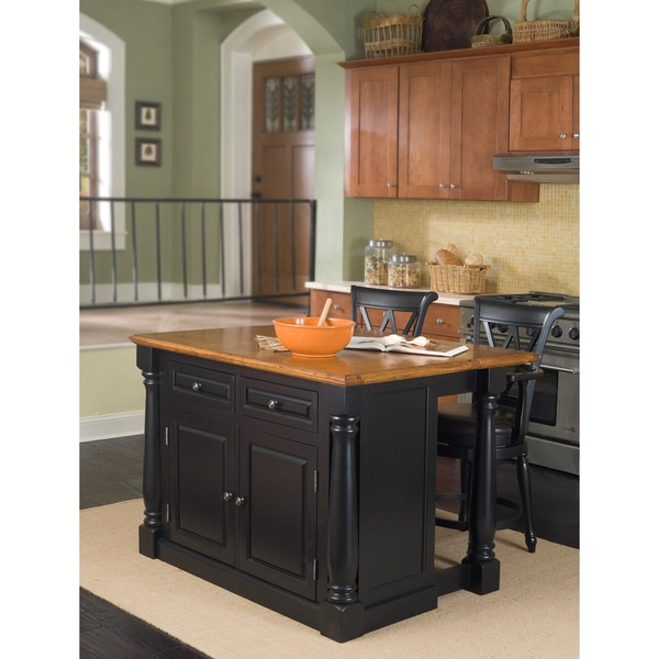 Home Styles Black and Distressed Oak Finish Monarch Island and Bar Stools