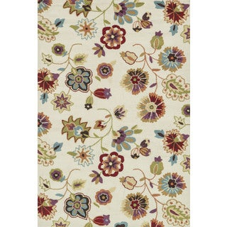 Hand-hooked Peony Ivory Floral Rug (2'3 x 3'9)