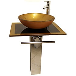 Mustard Gold 23-inch Glass Vessel Bathroom Vanity