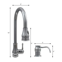 "Dyconn Faucet 18"" Modern Kitchen Polished Chrome Pull-Out Faucet With Soap Dispenser"