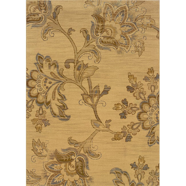 """Gold-and-Gray Transitional Floral Area Rug (5' x 7'6"""")"""
