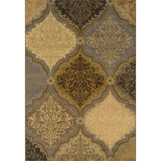 Grey and Gold Transitional Area Rug (5' x 7'6)