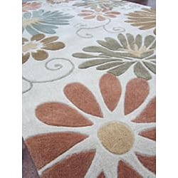 Hand-tufted Chalice Neutral Floral Rug (5' x 7'6)