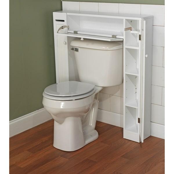 small bathroom storage cabinet white toilet towel toiletries shelves