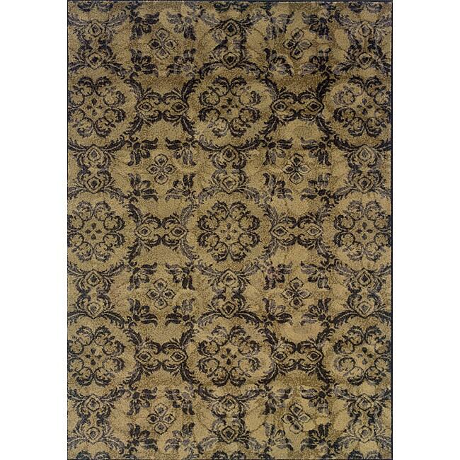 Grey/Black Transitional Floral Area Rug (5' x 7'6)