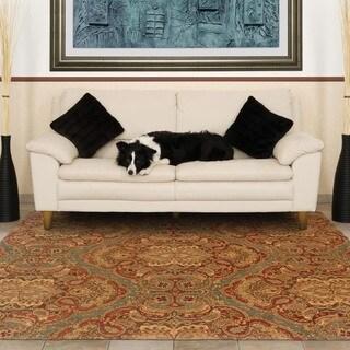 Evan Blue/ Rust Transitional Wool Rug (3'6 x 5'6)